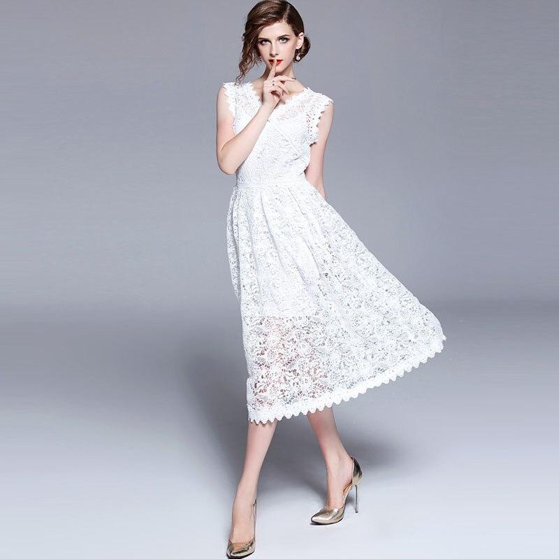 Qualité cou V Dentelle Soluble De Blanc Robes D'été 2018 Sexy Piste Creux Crochet Dans Robe Manches Femmes Out Luxe L'eau Haute Sans zgUwnHxU