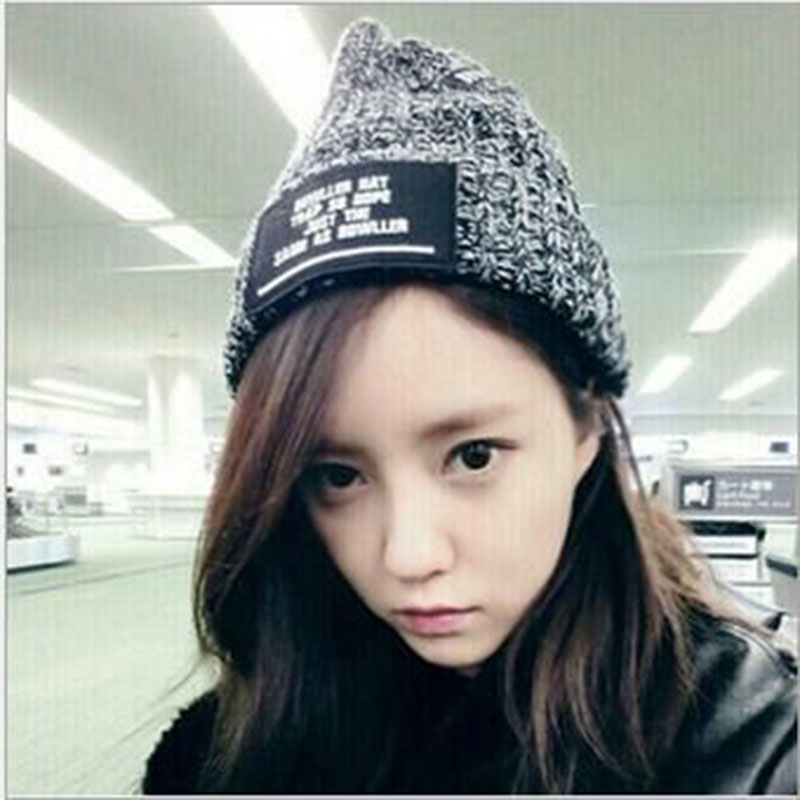 2016 New Fashion Woman Warm Motley Winter Hats Woolen Knitted Cap For Women Sooner State Letter Skullies Beanies 2 Color Gorros 2016 new fashion letter gorros hats bonnets