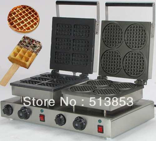 High Quality Doulbe-Head  Electric Square Waffeleisen +Round Waffle Maker Machine Baker economic and elegance waffle maker machine baker doulbe head electric churros with bar shaped and popsicle