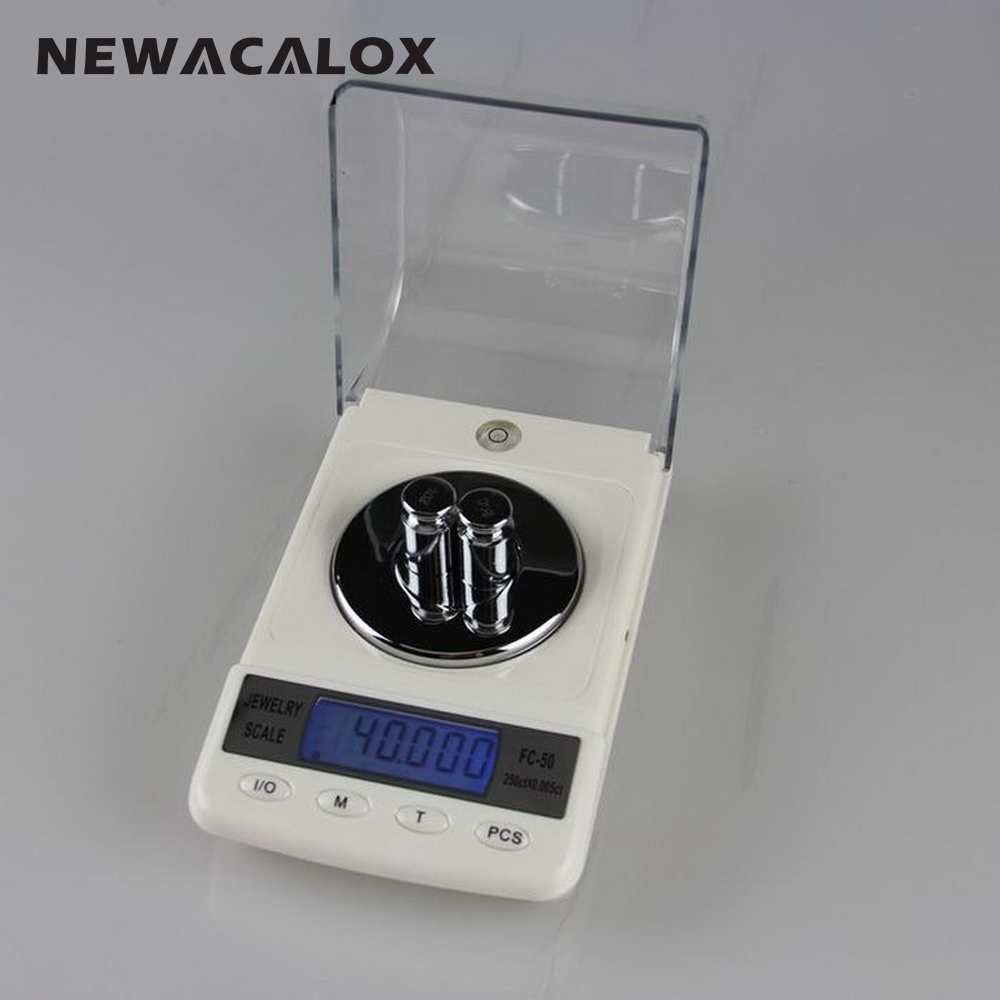 NEWACALOX 50g x 0.001g Precision Laboratory Balance Scale for Gold Bijoux Diamond Scale Jewelry Stainless Steel Digital Scale