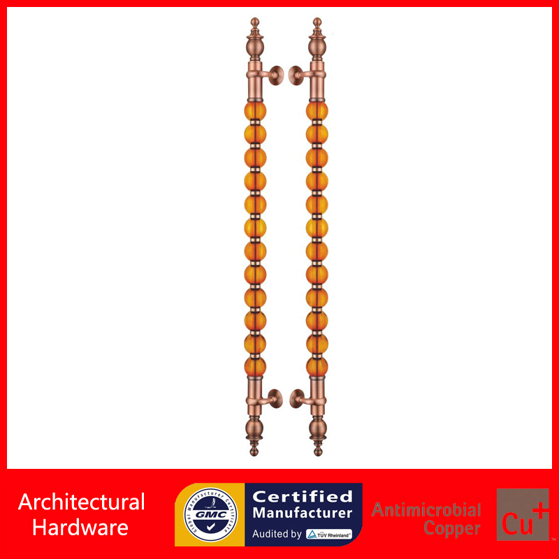 Luxurious Entrance Door Pull Handle Made of Cranberry Glass Ball For Entry/Front Wooden/Metal Doors PA-495-80*1500mm entrance door handle black peach wood bronze pull handles pa 255 38 1000mm for wooden glass metal doors