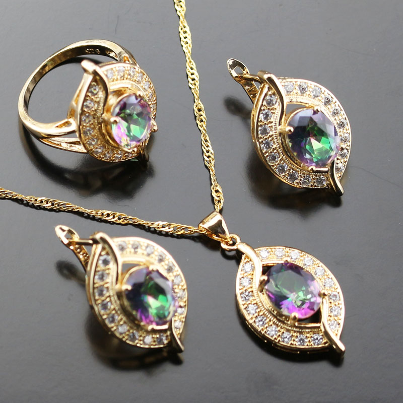 Banquet Colourful Crystal Rainbow White Zircon Jewelry Set For Women Gold Color Rings/Earrings/Necklace/Pendant