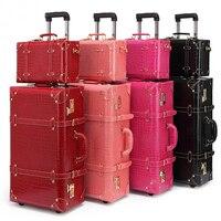 Ретро прокатки Чемодан набор Кастер Для женщин пароль чемодан колеса тележки 20 дюймов Винтаж кабина сумка сумки на плечо