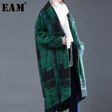 [EAM] 2018 Autumn Winter Woman Green Striped Single Breasted Turn-down Collar Long Sleeve Long Loose Warm Woolen Coat LD0225