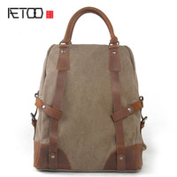 New Winter Korean Fashion Bags Men Casual Shoulder Bag Computer Backpack Man Canvas And Leather Bag