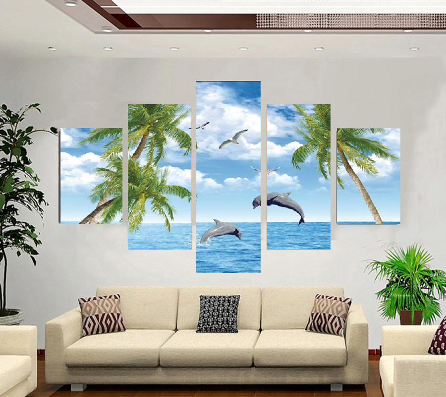 No Marcos playa lienzo pintura en la pared fotos para la Sala 5 ...