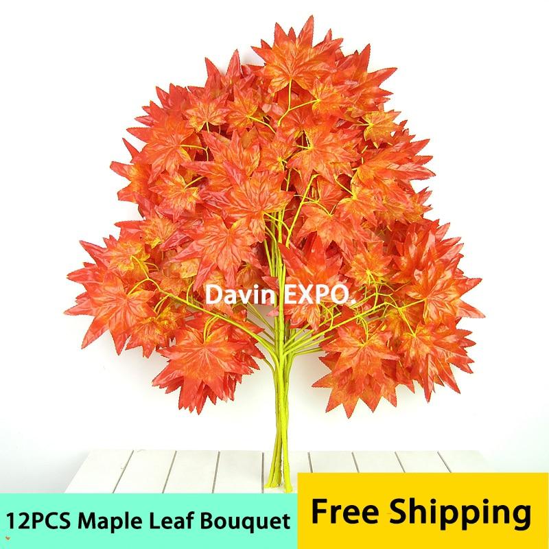 12 ks dekorativní květina hedvábí umělý červený javor listy domácí dekorace listy list svatební strana oblouk vinobraní dodávky