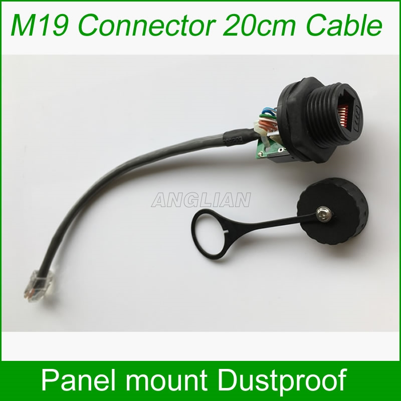 M19 panel mount with Ethernet cable 200mm With matching cap waterproof Telecom Communication Monitoring system AP