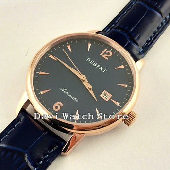 Debert 40mm Date Leather Band  Rose Gold Case Automatic Men Watch W2439