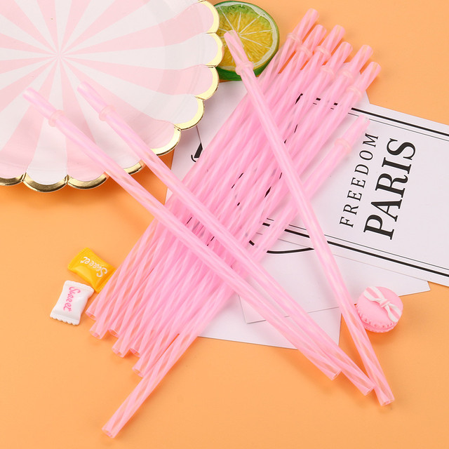 Reusable Hard Plastic Striped Drinking Straws 10 Pcs Set