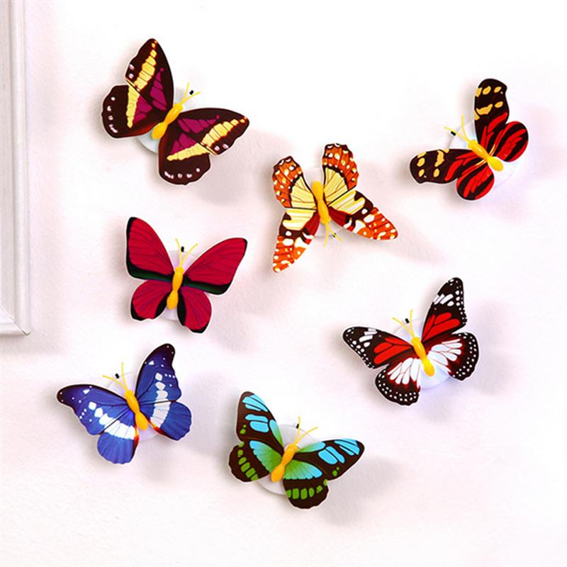 2pcs 3D LED Colorful Butterfly Decorative Light Stick on Wall Night Light for Xmas Festive Garden Home Party (Mixed Colors)