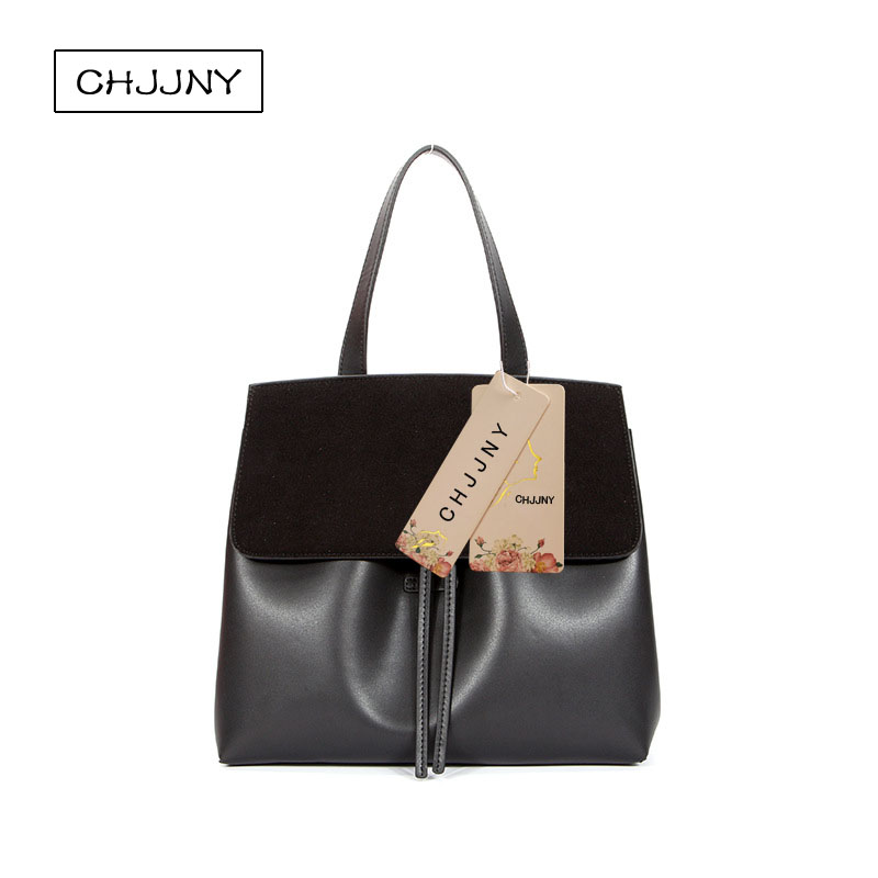 ФОТО CHJJNY 2017 Autumn and winter new fashion style Scrub with cow leather women vintage lady bag hand bags