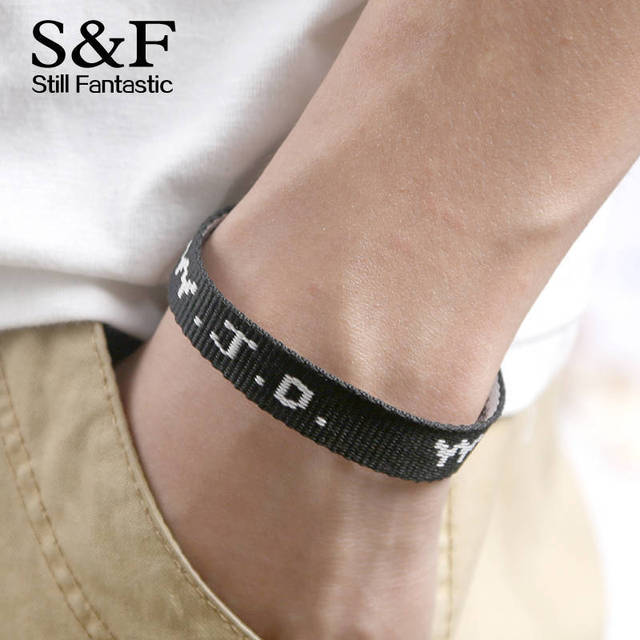 Wwjd Bracelet Men Jewelry Pulseira Masculina Pulseras Black Ribbon Letter Schwork Summer Sport Bracelets