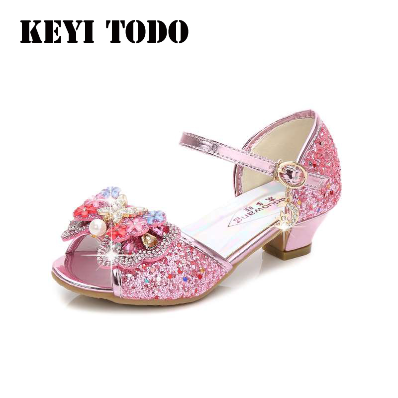 Spring New flower girl Princess Sandals colorful Butterfly knot Sequined Upper girls shoes high heels Party Dance Sandals L141Spring New flower girl Princess Sandals colorful Butterfly knot Sequined Upper girls shoes high heels Party Dance Sandals L141