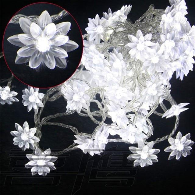 New 5m 20 LED Crystal Lotus Flower String Light Night Lamps ...