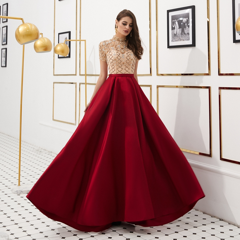 Reflective Stain Evening Gown Green Gold Red Navy Blue 2019 Robe De Soiree Sweep Train A Line Long Elegant Robe Femme Prom Dress in Evening Dresses from Weddings Events