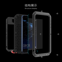 Huawei P10 Case LOVE MEI Shock DirtProof Water Resistant Metal Armor Aluminum Silicon Cover Phone Case huawei p10 Tempered Glass