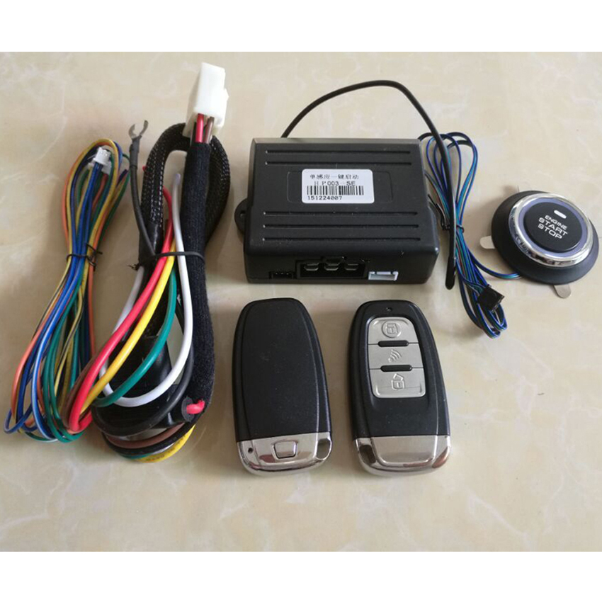 ФОТО 2016 Remote Start Car Alarm System Two Way Car Alarm System Keyless Push Button PKE Built-n lock Start car Security System