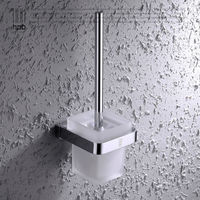 Solid Brass Toilet Brush Holder Frosted Glass Cup Bathroom Accessories Brosse WC Brush Set HP7703