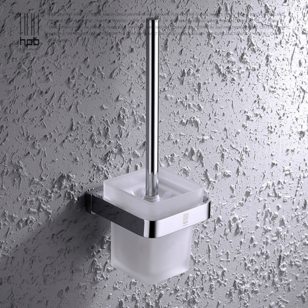 BULUXE Solid Brass Toilet Brush Holder Frosted Glass Cup Bathroom Accessories Brosse WC Brush Set HP7703 иберогаст капли для приема внутрь 100 мл