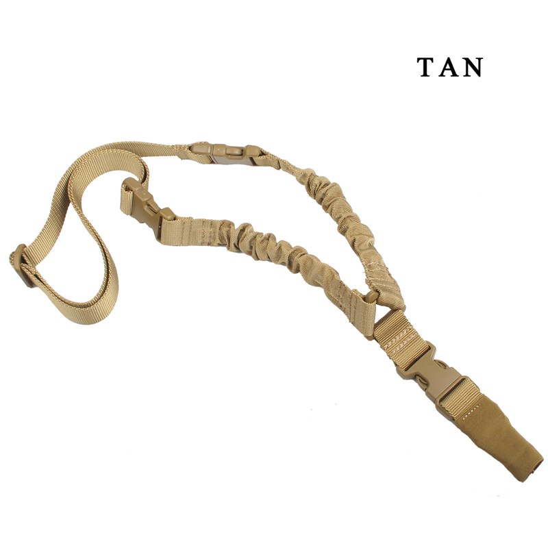 1000D-Heavy-Duty-Tactical-One-1-Single-Point-Sling-Adjustable-Bungee-Rifle-Gun-Sling-Strap-for-Airsoft-Hunting-Military RL30-0001 Tan
