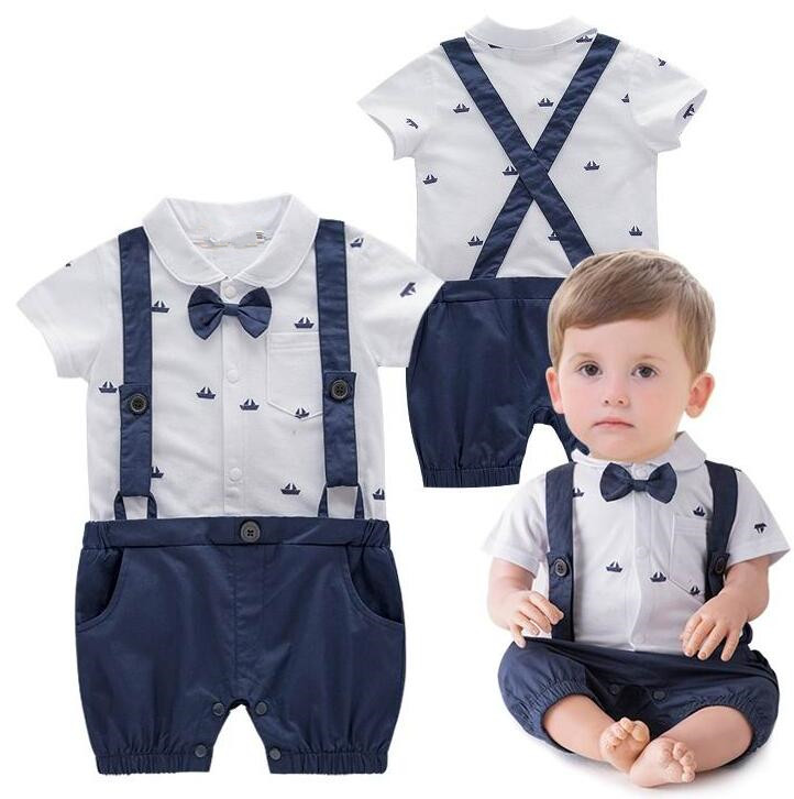 Navy Blue Baby Rompers Sailor Boat Soft Cotton High Quality Newborn Baby Stuff Jumpsuits One-piece Gentleman Tie baby boy Cloth