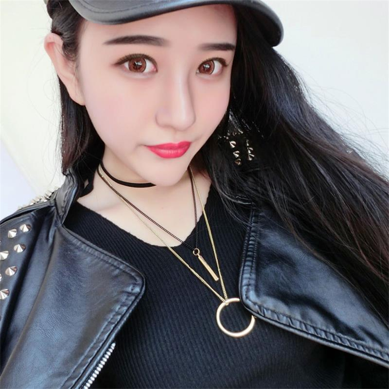 New Arrival Personality Sweather Necklace For Women Geometric Circle Fashion Pendant Necklace Choker Trendy Tassel Girl Chain