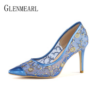 High Heels Shoes Women Pumps Brand Thin Heel Pointed Toe Party Shoes Female Lace Black Spring Plus Size Single Shoes Woman DO
