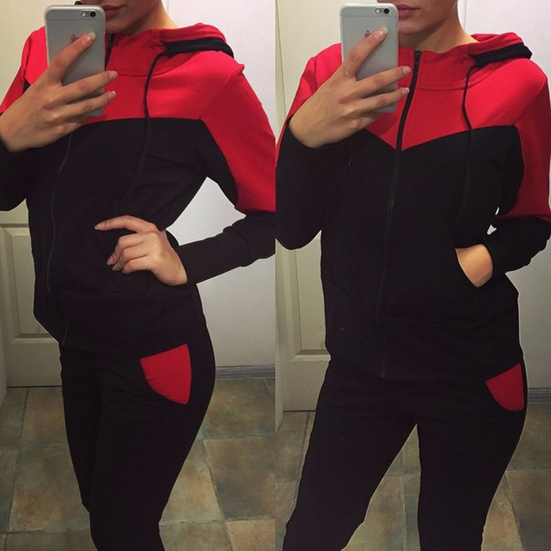 Patchwork Fashion Suit Set 2019 Women Tracksuit Two-piece Sport Style Outfit Jogging Sweatshirt Fitness Lounge Sportwear