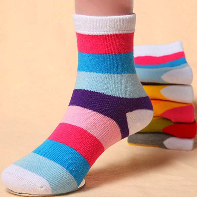 5 Pairs Kids Boys Girls Soft Striped Socks Cotton Warm Casual Socks 2-6 Years YH-17