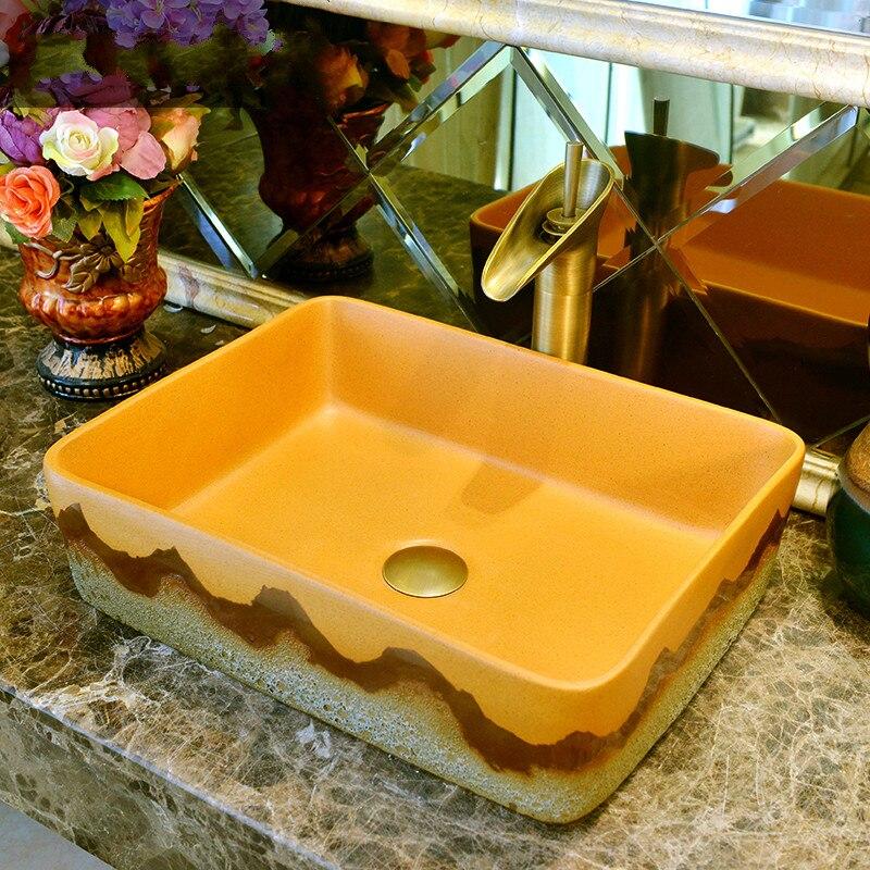 Ручной работы Европейский Винтажный стиль умывальник Китай художественный керамический кутертоп шкаф для раковины в ванной умывальник дл