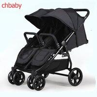 Chbaby Twin Детские коляски может сидеть и лежать, двойные тележки, четыре колеса амортизаторы свет складной Детские коляски