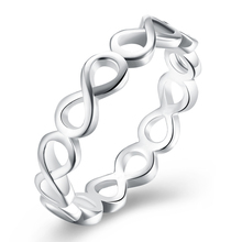 Hot 925 Plating Hollow Out Ring Infinity Charms Silver Color Finger Ring Fine Accessorise Jewelry for Women Girl Friend Gift