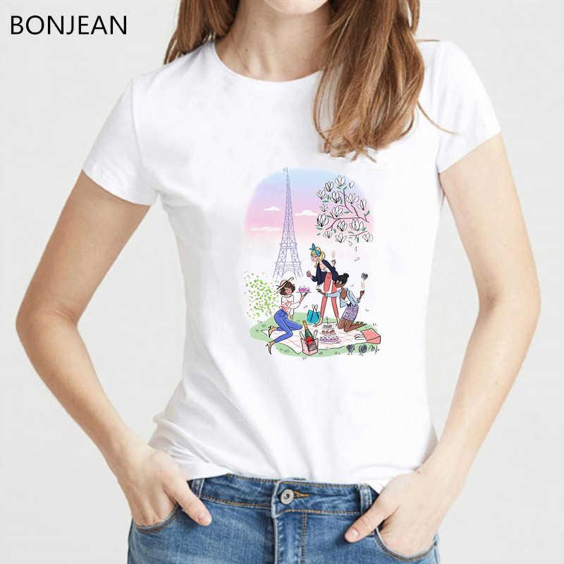 Nowa moda paryż wieża eiffla topy koszulki T koszula kobiety vogue przyjął piłkę na swoją lepszą nogę i uderzył TShirt femme biały O-Neck T-Shirt kobiet camiseta mujer