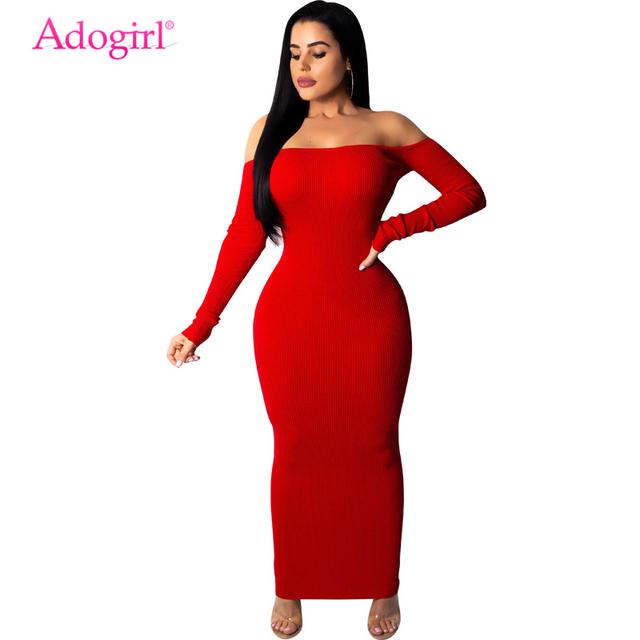 Adogirl Women Sexy Backless Off Shoulder Ribbed Dress Slash Neck Long  Sleeve Bodycon Maxi Club Party 03557e0122c6