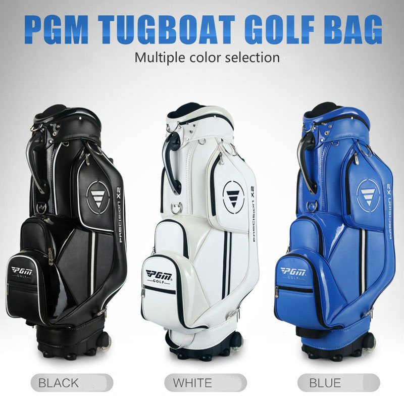 Pgm Golf Aviation Bag Portable Pu Leather Golf Standard Bag Golf Large Capacity Travel Package With Wheels D0085 title=