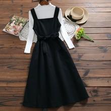 4 Colors Japanese Spring Summer Women Sundress Strap Cotton Casual Preppy Style Vintage Tank Dress Elegant All-Match Long Dress