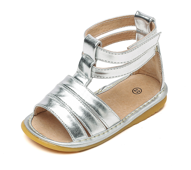 d03092f67f2 little girls princess squeaky sandals silver gladiators ankle strips open  toe 1-3 years kids summer shoe chaussure nina zapato