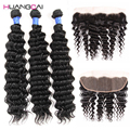 Ear to ear lace frontal closure with bundles Brazilian deep curly with closure 3bundles deep wace human with closure 13x4inch