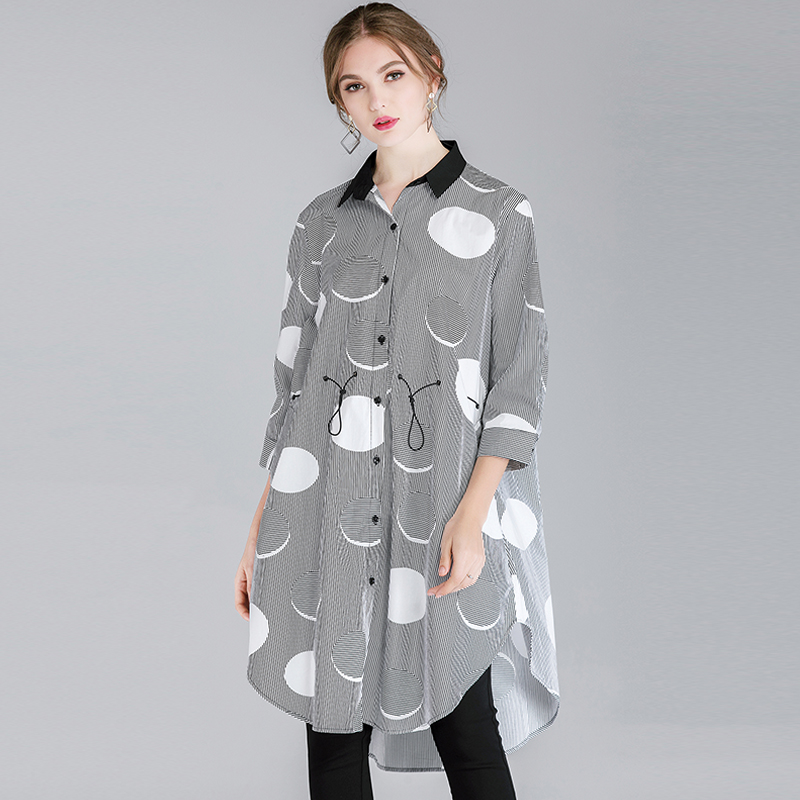 Spring Female cotton loose long shirt polka dot print turn down collar casual shirt drawstring plus size street wear blouse 4xl