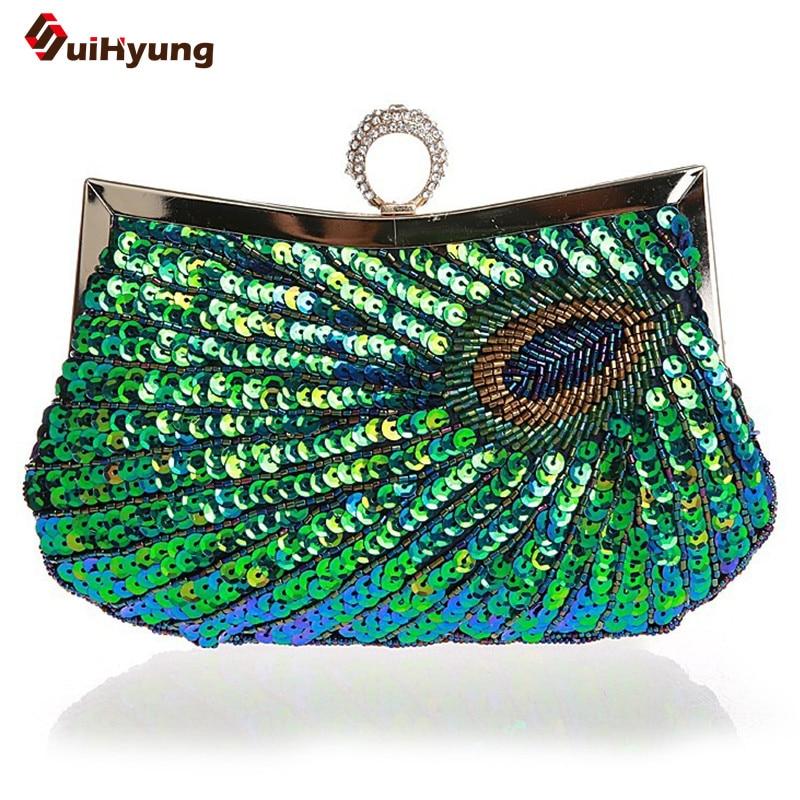 2015 New Women Handbag Beaded Sequined Wedding Handbag Purse DIY Pearl Sequined Ring Dady font b