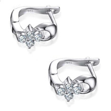 Everoyal Trendy 925 Sterling Silver Earrings For Women Jewelry Vintage Crystal Flower Girls Accessories Female Gift