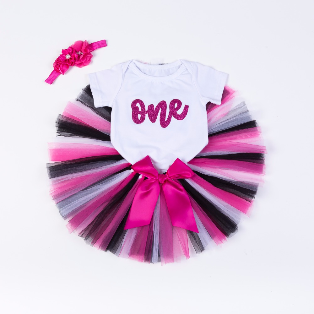 Новое поступление 3 шт./компл. для маленьких девочек блеск один первый День рождения наряд ползунки Пышная Юбка для маленьких девочек s повяз...