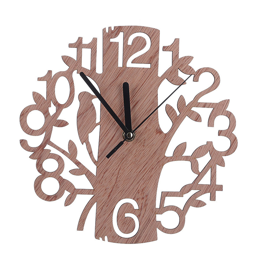 3D DIY Tree Shape Wooden Wall Clock Wall Watches Digital Needle Clock For Living Room Home Decor 22Cm