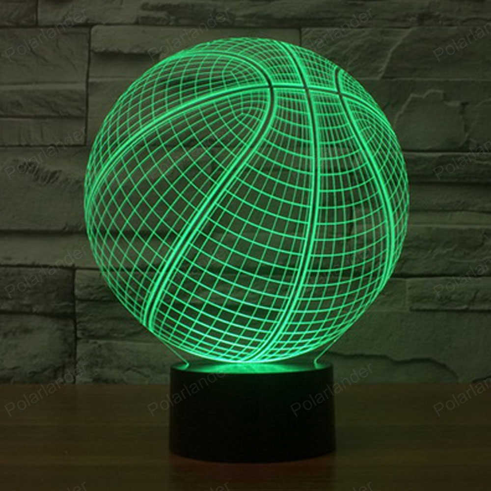 Night lights holiday - Creative Lights Holiday Atmosphere Decorative Novetly Kids Basketball Shape 3d Ilusion Lamp Led 7 Color Changing Night Light