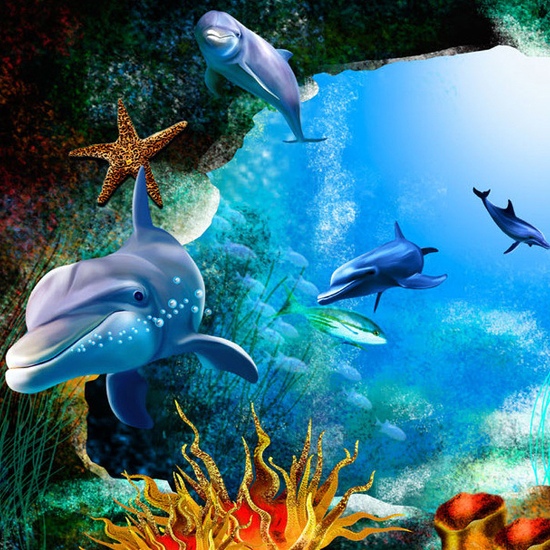 Personalized Customization Underwater World Dolphin Cave Photo
