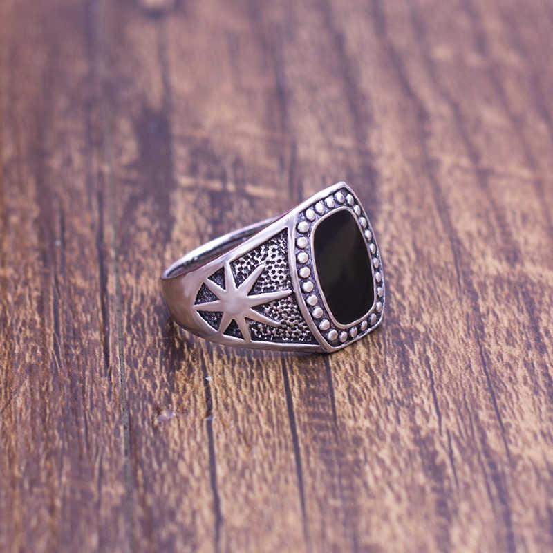 แหวนผู้ชายเพื่อให้ต่ำสุดผู้ชาย Biker ทิเบตทิเบต Silver Alloy เคลือบสีดำเครื่องประดับแหวนแฟชั่นผู้ชาย