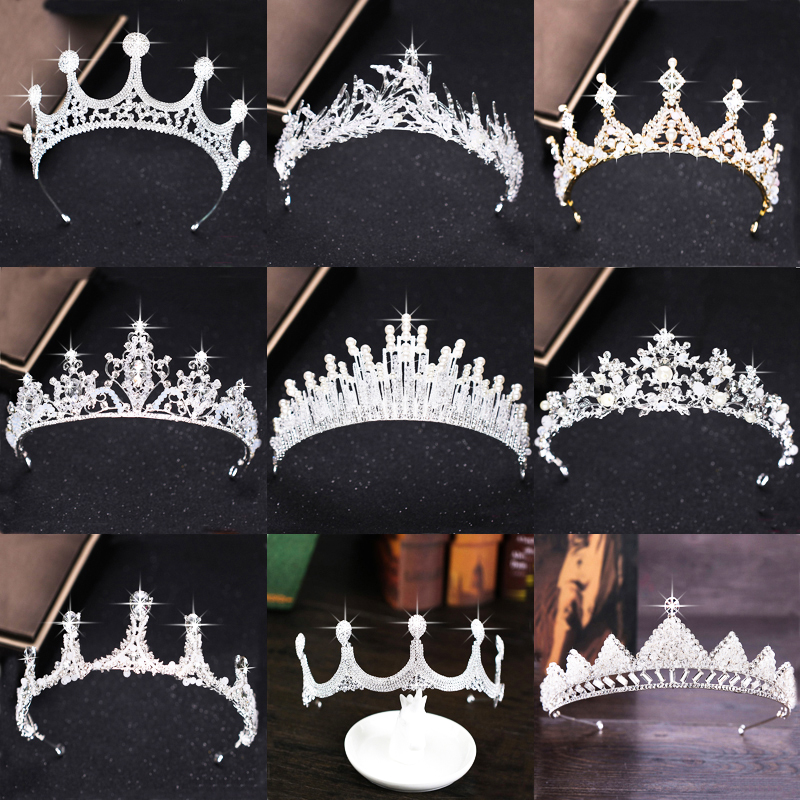 Luxury Silver Rhinestone Wedding Tiara Crown Pearl Queen Diadem Bride Crown Headpiece Wedding Hair Accessories Tiara High Qualig