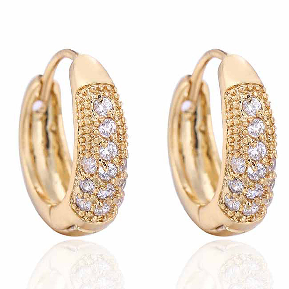 Exquisite Thick Gold Women Fashion Earring Embedded Crystal Hoop ...