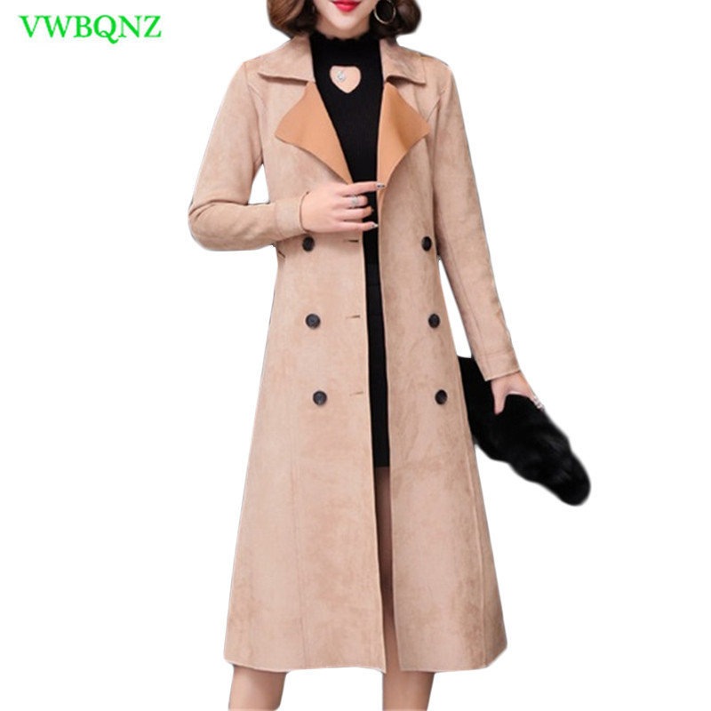 Plus size Women Coats Autumn Winter Long   Trench   Coats Korean Women's Fashion Pink Windbreaker Square collar Outerwear 3XL A742